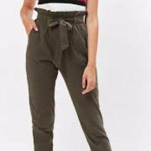 Kendall & Kylie Khaki Paper Bag Waist Pants Sz M